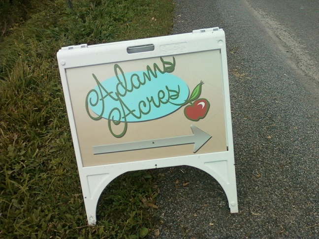 Apples adams acres sign