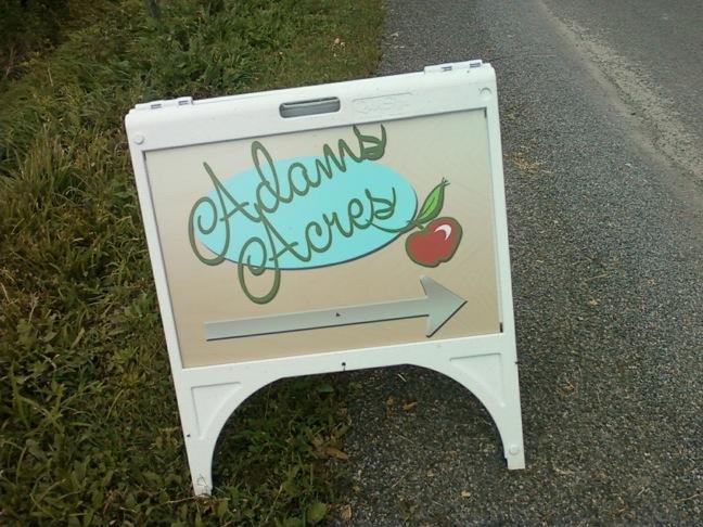 Apples adams acres sign