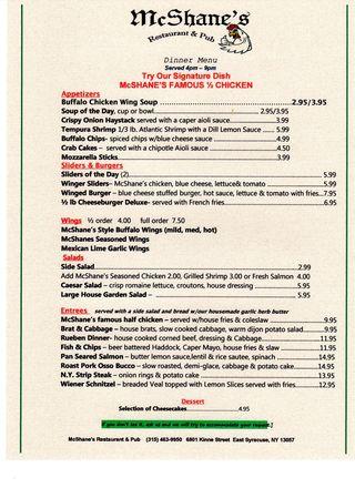 Mcshanes dinner menu