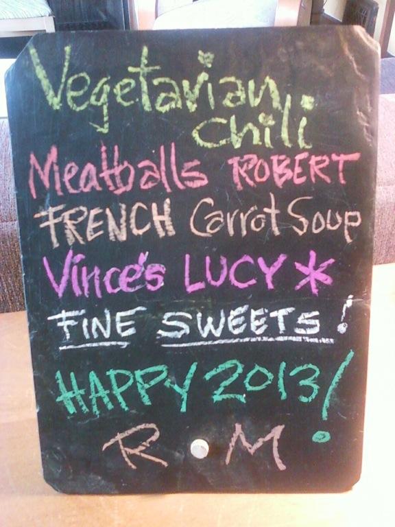 New years day menu board