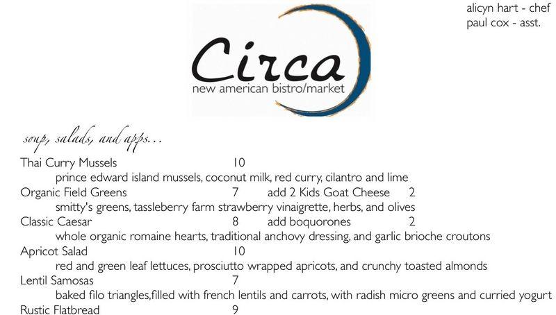 Circa partial menu