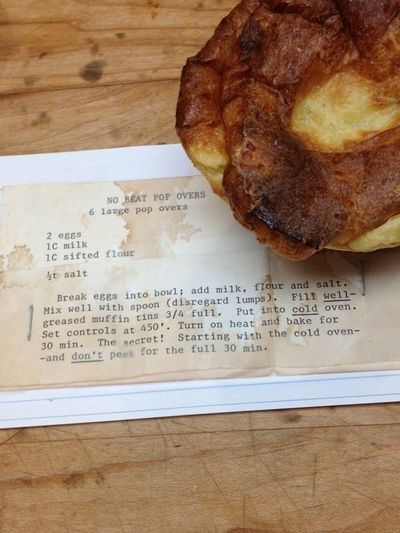 Popovers recipe card