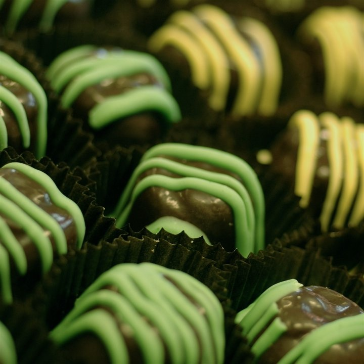 Lime truffles sweet on chocolate