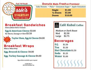 Ossies streatery food truck breakfast menu