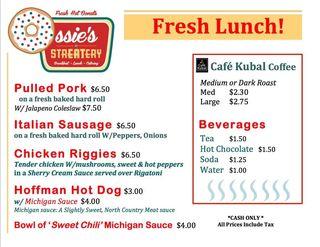 Ossies streatery food truck menu