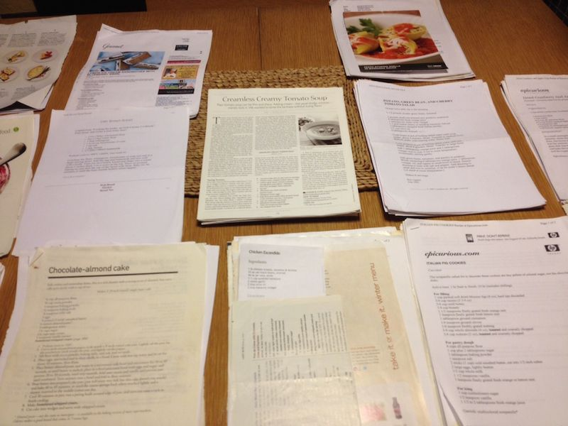 Recipe file 2 table