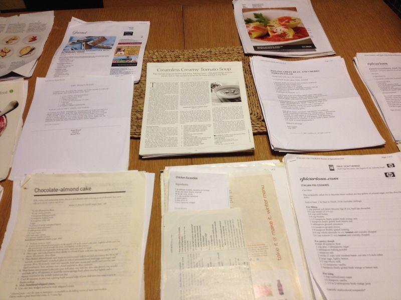 Recipe file 2 table