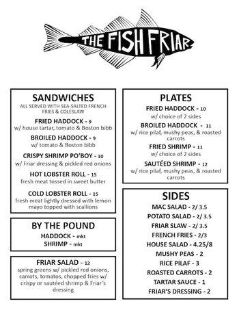 Fish friar menu