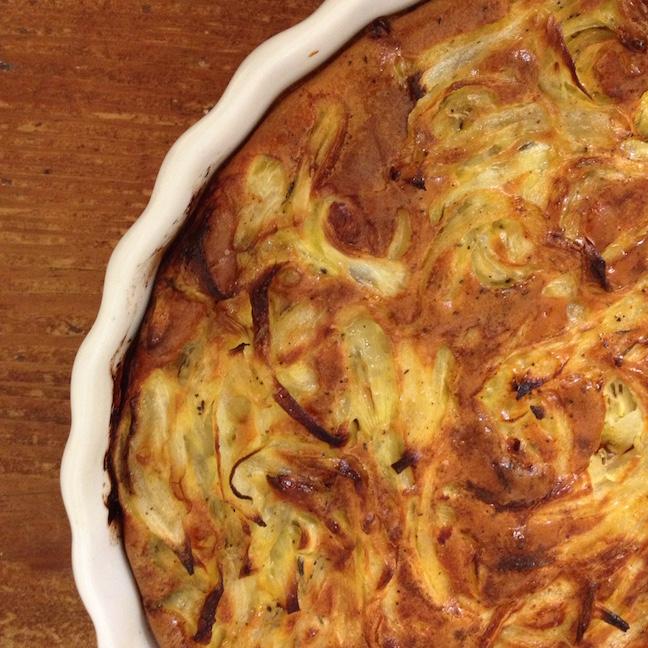 CSA cooking Crustless Onion Quiche