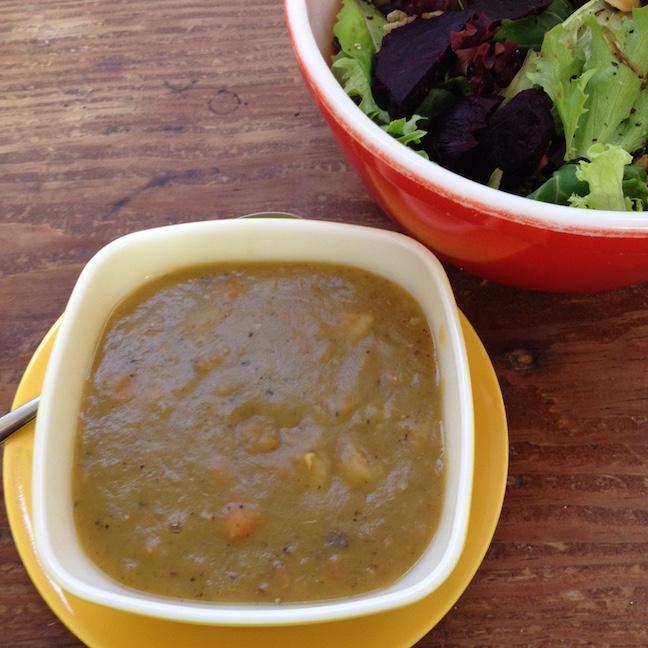 CSA cooking Dutch split pea soup with leeks