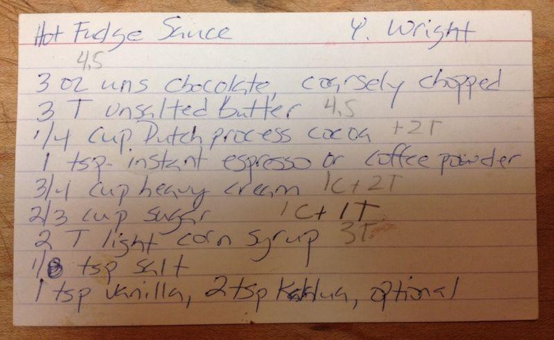YW recipe card