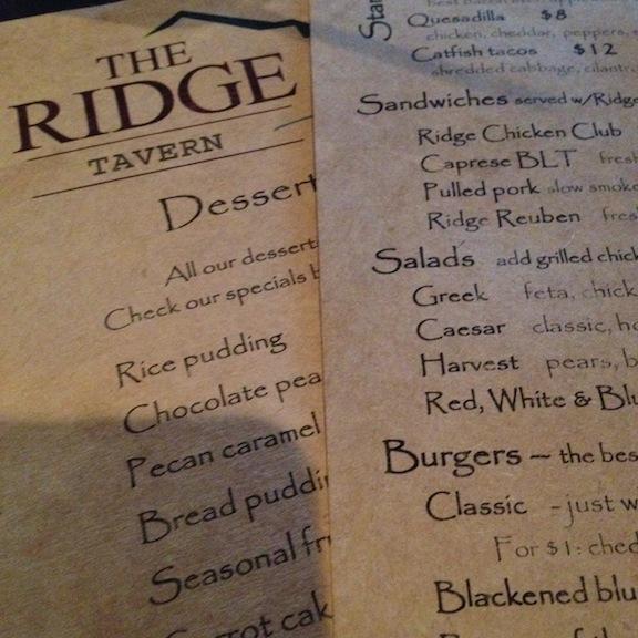 Ridge menus