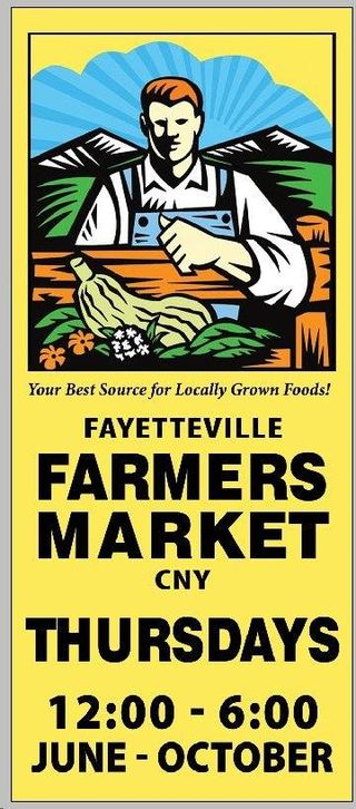 Fayetteville farmers market sign