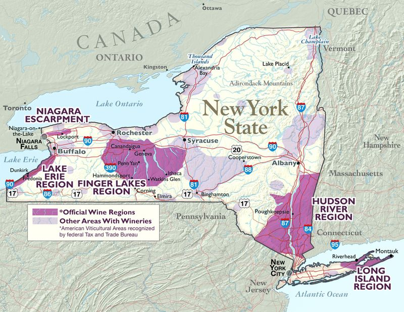 NY wine regions map