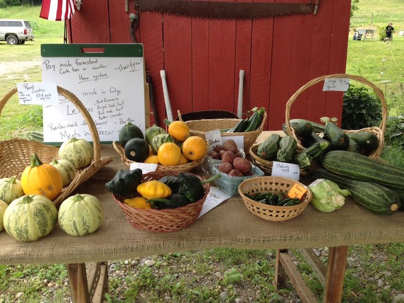 Honor box farm stand creekside