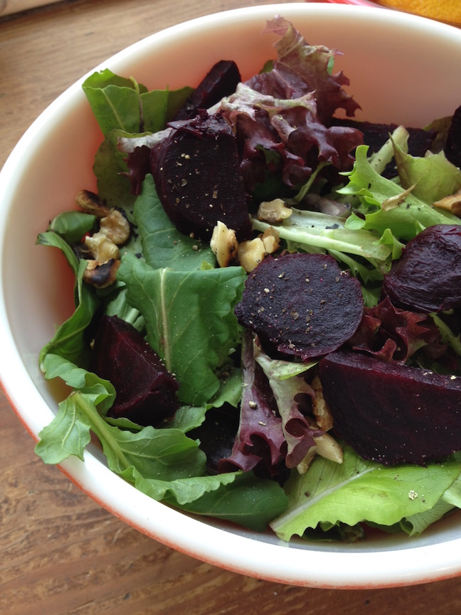 CSA cooking salad beets walnuts