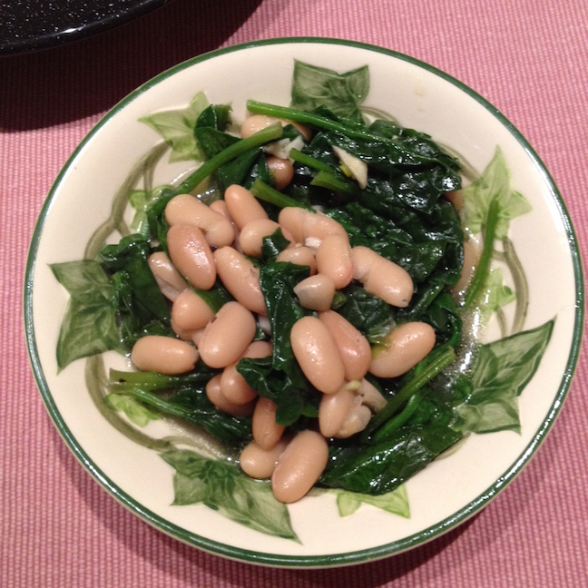 CSA cooking beans greens