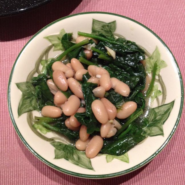 CSA cooking beans greens