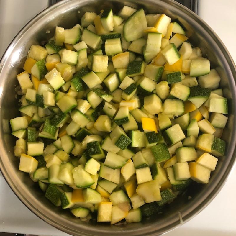 Zucchini butter cubed